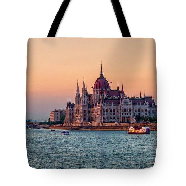 Hungarian Parliament Building In Budapest, Hungary Tote Bag by Elenarts - Elena Duvernay photo
