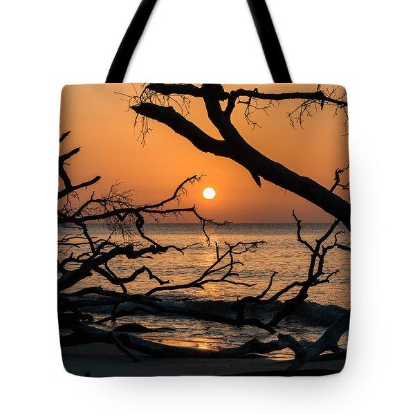 Hunting Island Sunrise Tote Bag by Lynne Jenkins