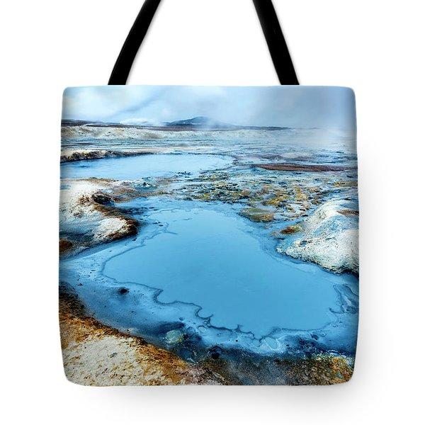 Hverir Steam Vents In Iceland Tote Bag by Joe Belanger