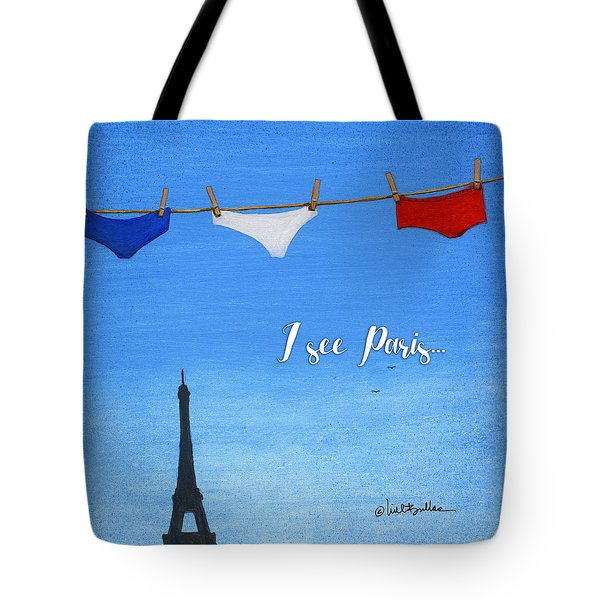 Tote Bag featuring the painting I See Paris... by Will Bullas