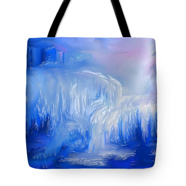 Tote Bag featuring the painting Ice Falls by Sherri  Of Palm Springs