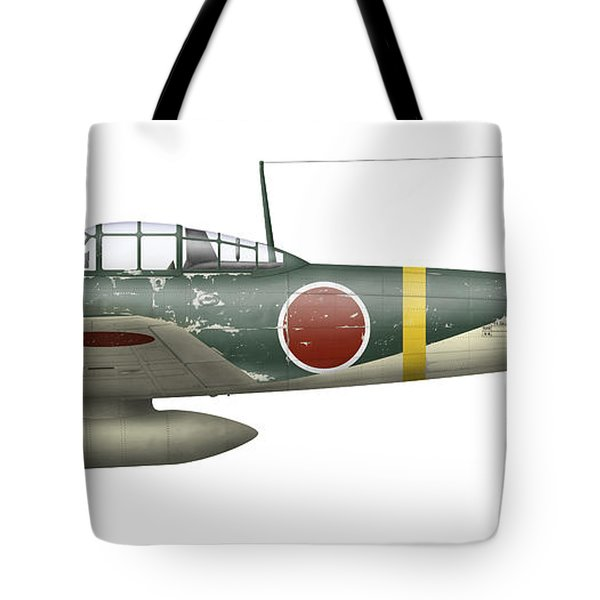 Illustration Of A Mitsubishi A6m2 Zero Tote Bag by Inkworm