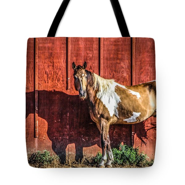 #0783 - Buckskin On Red Tote Bag