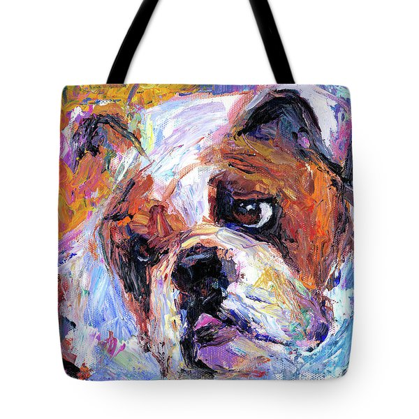 Impressionistic Bulldog painting  Tote Bag by Svetlana Novikova