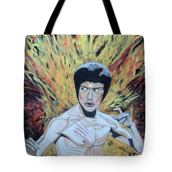 In The Midst Of The Fire,be Like Water. Tote Bag by Ken Zabel