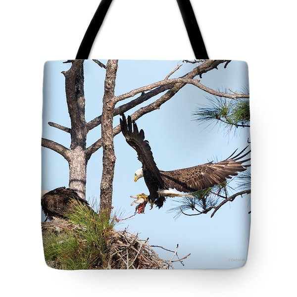 Tote Bag featuring the photograph Incoming Food by Deborah Benoit