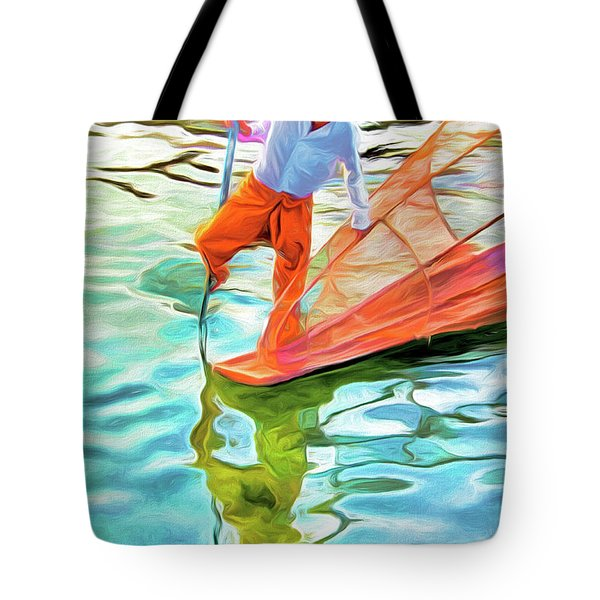Inle Lake Leg-rower Tote Bag by Dennis Cox