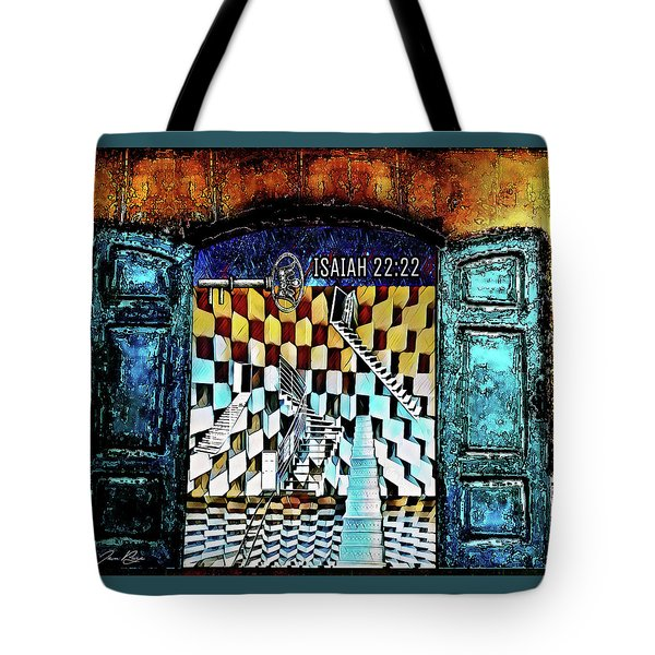 Tote Bag featuring the digital art Isaiah 22 22 by Jennifer Page