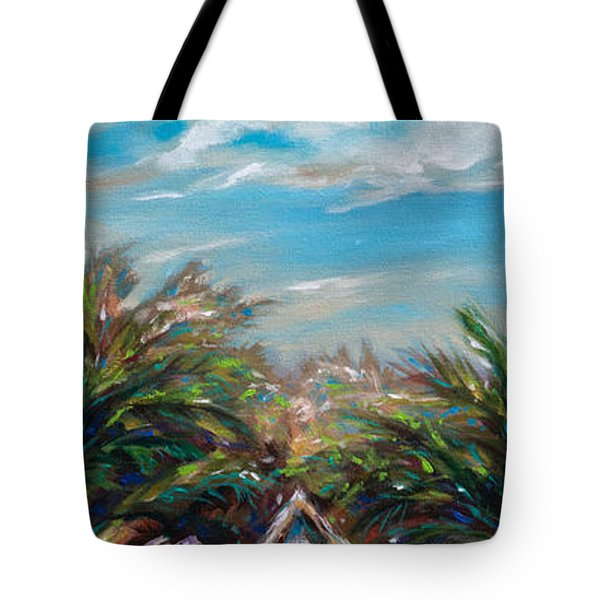 Tote Bag featuring the painting Island Bungalow by Linda Olsen