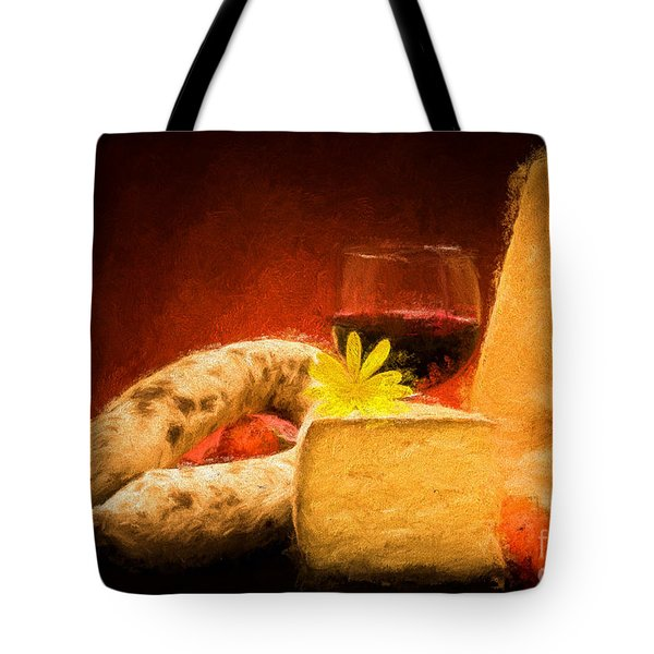 Still Life With Cheese And Salami Tote Bag