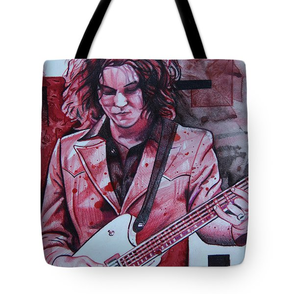 Tote Bag featuring the drawing Jack White by Joshua Morton
