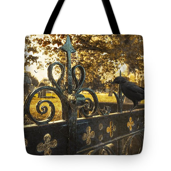 Jackdaw On Church Gates Tote Bag by Amanda Elwell