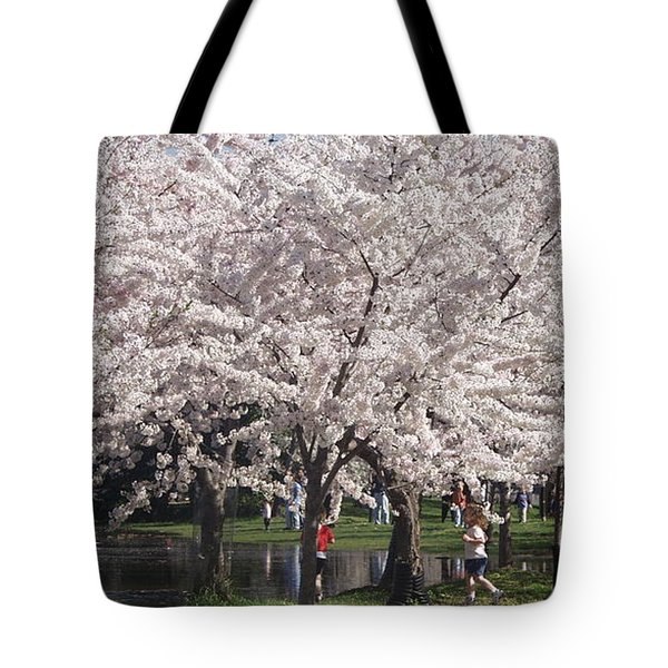 Japanese Cherry Blossom Trees Tote Bag by April Sims