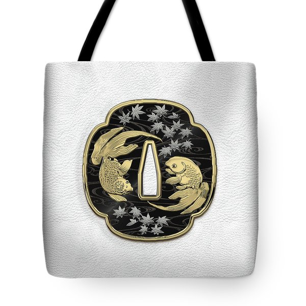 Japanese Katana Tsuba - Twin Gold Fish On Black Steel Over White Leather Tote Bag