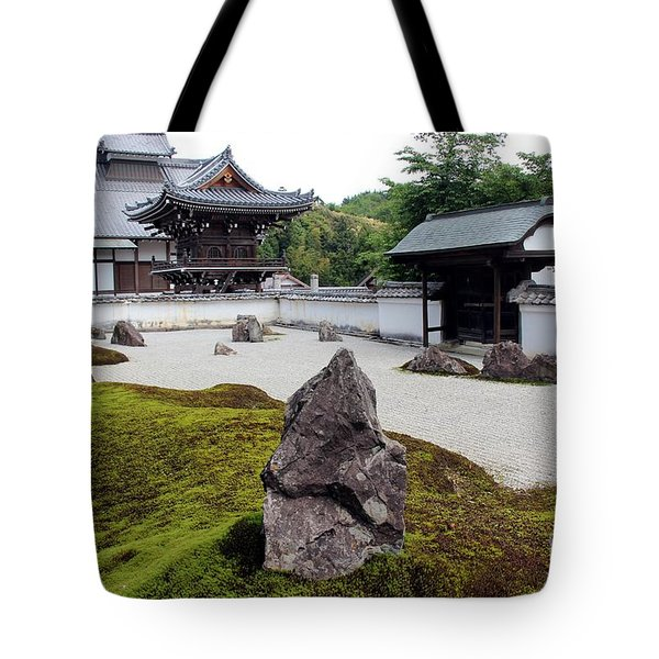 Tote Bag featuring the photograph Japanese Pebbles Garden by Yumi Johnson