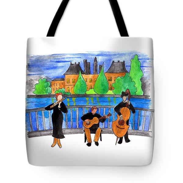 Jazz Trio On Pont Ile Saint Louis Tote Bag