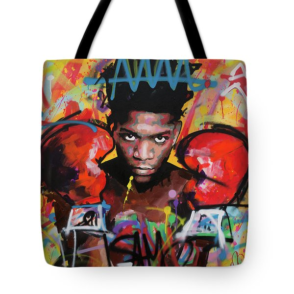 Tote Bag featuring the painting Jean Michel Basquiat by Richard Day