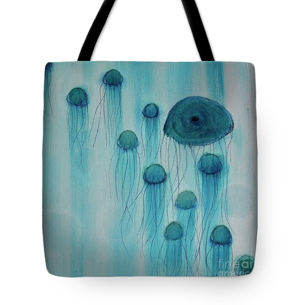 Tote Bag featuring the painting Jellyfish Ballet by Kim Nelson