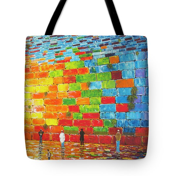 Tote Bag featuring the painting Jerusalem Wailing Wall Original Acrylic Palette Knife Painting by Georgeta Blanaru