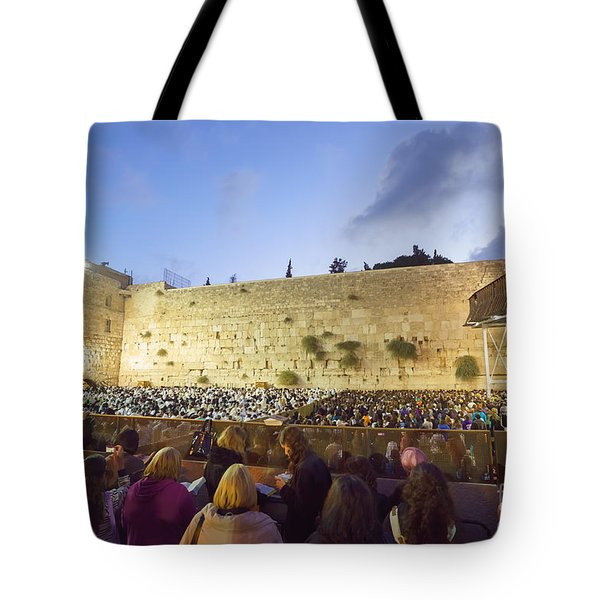Jewish Sunrise Prayers At The Western Wall, Israel 8 Tote Bag