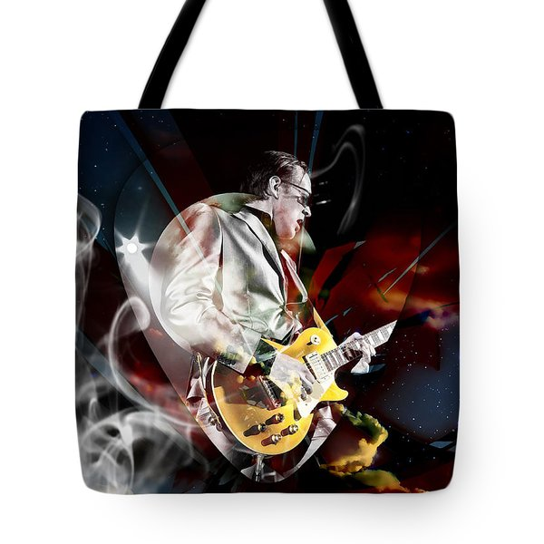 Joe Bonamassa Blue Guitarist Art Tote Bag by Marvin Blaine