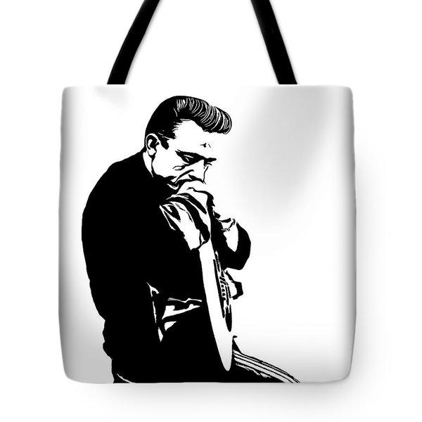 Johnny Cash Black And White Tote Bag