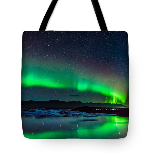 Tote Bag featuring the photograph Jokulsarlon Aurora by James Billings