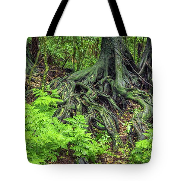 Tote Bag featuring the photograph Jungle Roots by Les Cunliffe