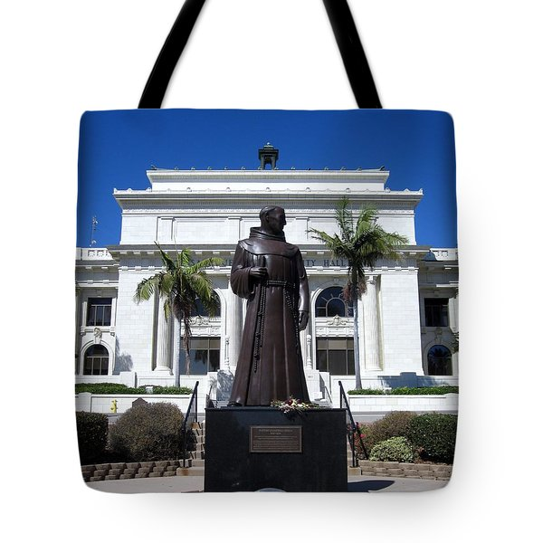 Tote Bag featuring the photograph  Serra At City Hall by Mary Ellen Frazee