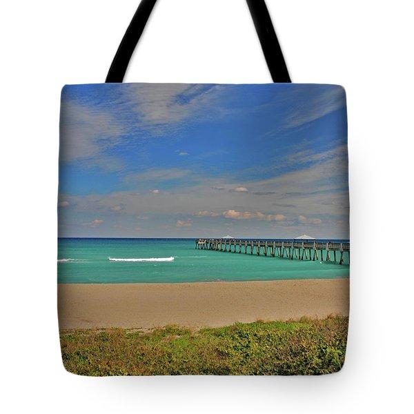 Tote Bag featuring the photograph 1- Juno Beach Pier by Joseph Keane