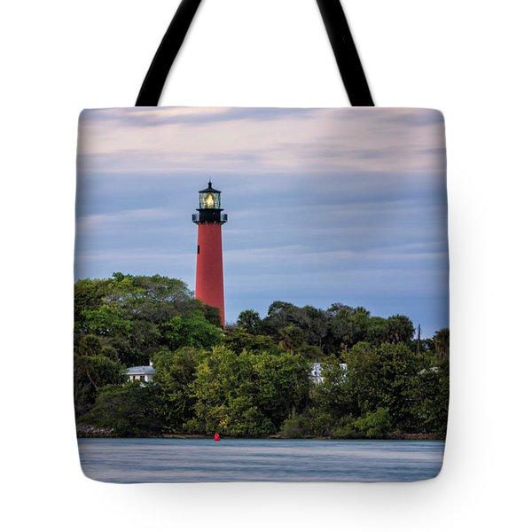Jupiter Inlet Lighthouse Tote Bag by Fran Gallogly