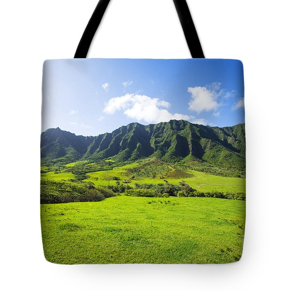 Kaaawa Valley And Kualoa Ranch Tote Bag by Dana Edmunds - Printscapes