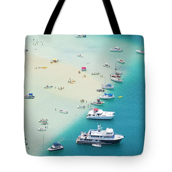 Kaneohe Bay, Boats Tote Bag by Ron Dahlquist - Printscapes