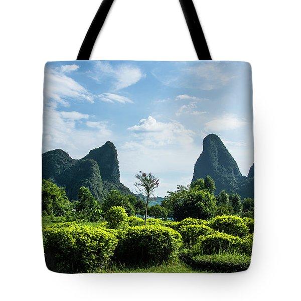 Karst Mountains Scenery Tote Bag