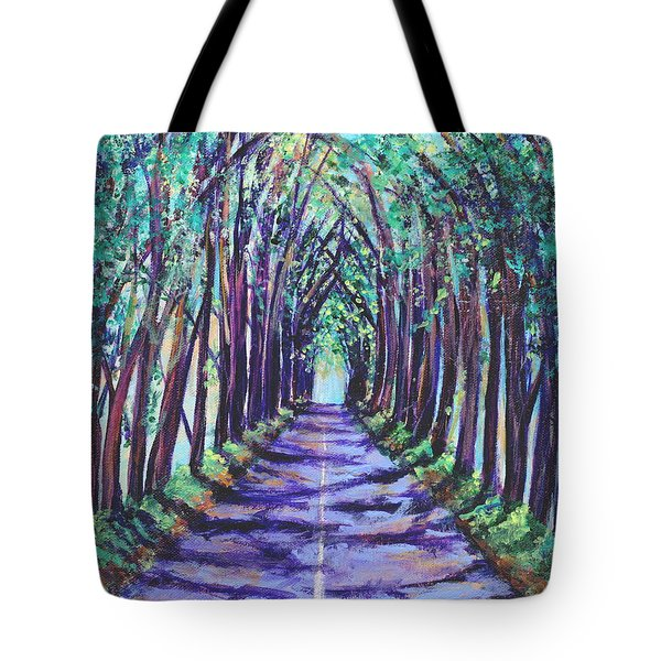 Tote Bag featuring the painting Kauai Tree Tunnel by Marionette Taboniar