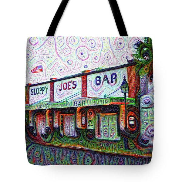 Key West Florida Sloppy Joes Bar Tote Bag by Bill Cannon