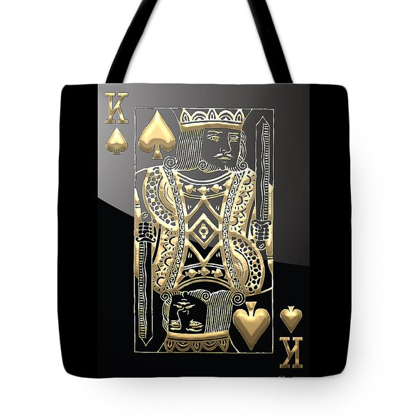 King Of Spades In Gold On Black   Tote Bag