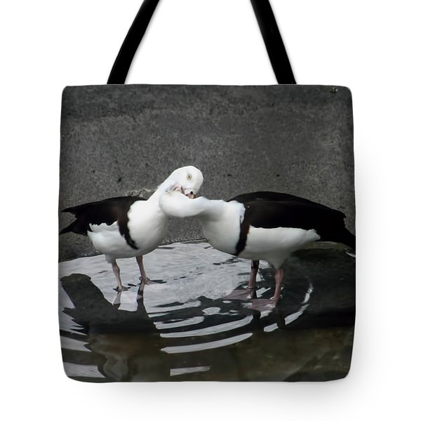 Kissing Ducks Tote Bag