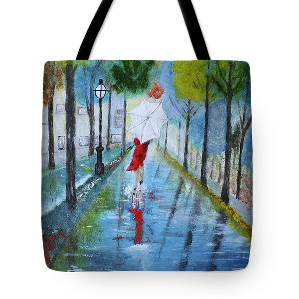 Lady In Red Original Version Tote Bag by Dick Bourgault
