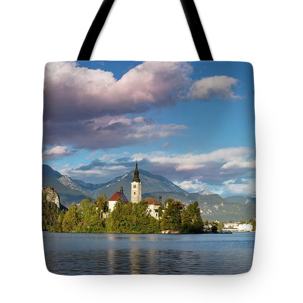 Tote Bag featuring the photograph Lake Bled Panoramic by Brian Jannsen