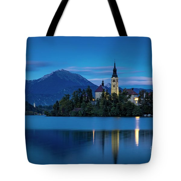 Tote Bag featuring the photograph Lake Bled Twilight by Brian Jannsen