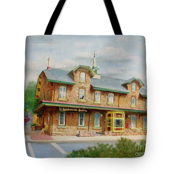 Tote Bag featuring the painting Lambertville Inn by Oz Freedgood