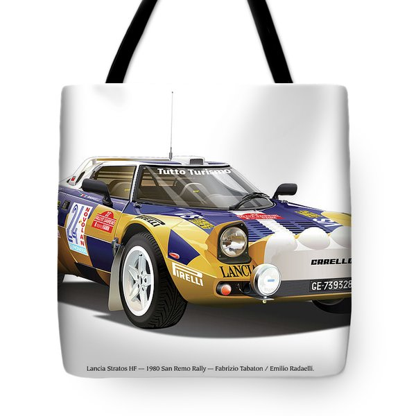 Lancia Stratos Hf Tote Bag