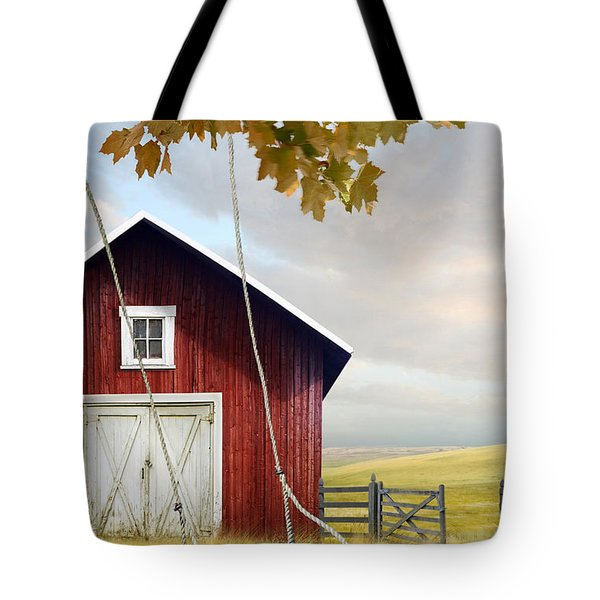 Large Red Barn With Bicycle In Field Of Wheat Tote Bag