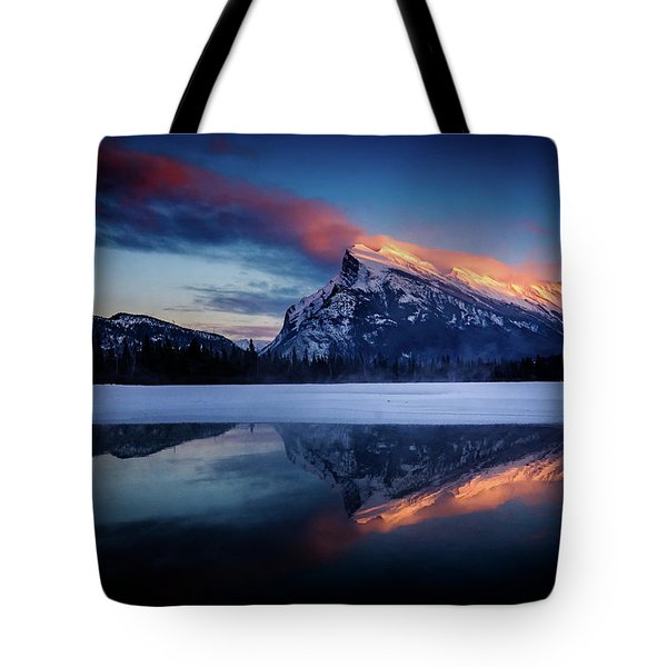 Last Light On Mount Rundle Tote Bag