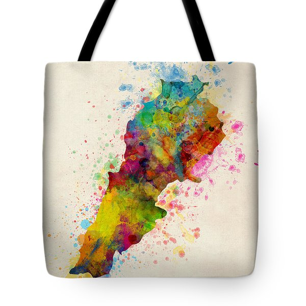 Lebanon Watercolor Map Tote Bag