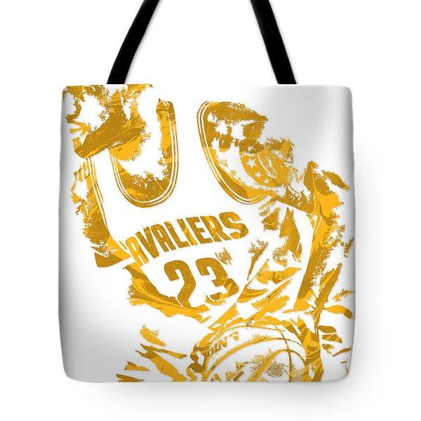 Lebron James Cleveland Cavaliers Pixel Art 7 Tote Bag by Joe Hamilton