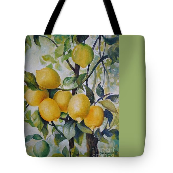 Tote Bag featuring the painting Lemons by Elena Oleniuc