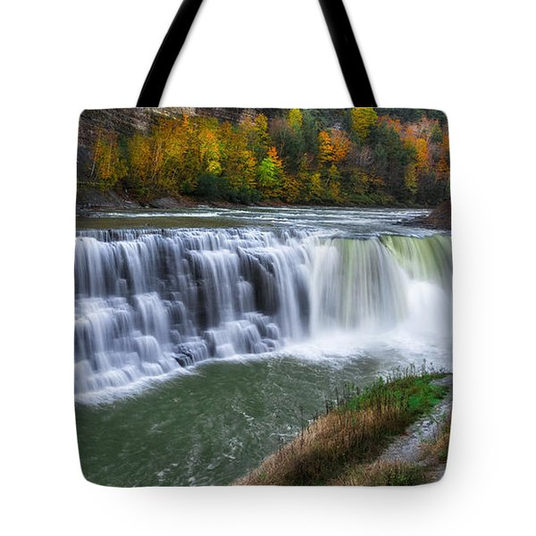 Tote Bag featuring the photograph Letchworth Lower Falls by Mark Papke
