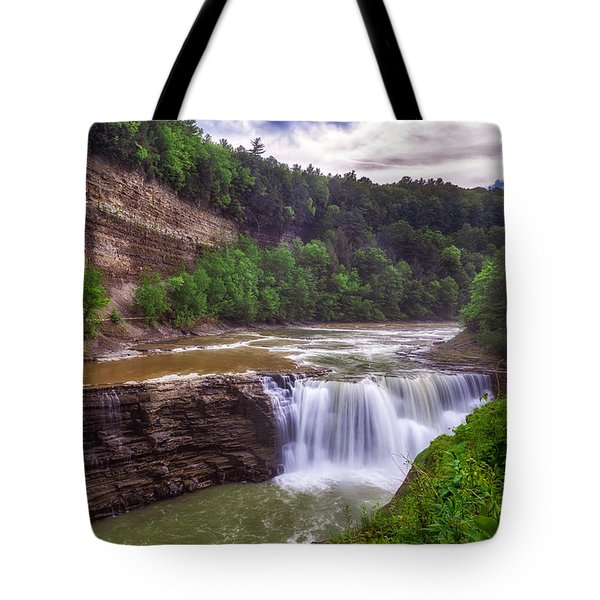 Tote Bag featuring the photograph Letchworth State Park Lower Falls by Mark Papke